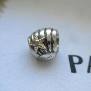 Pandora Seashell 14K Gold Starfish Charm #790249